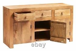 Contemporary 3 Doors 3 Drawers Light Mango Wood Large Sideboard Storage Cabinet
