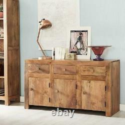 Contemporary Large Sideboard Cupboard 3 Drawer 3 Door Storage Light Walnut Mango