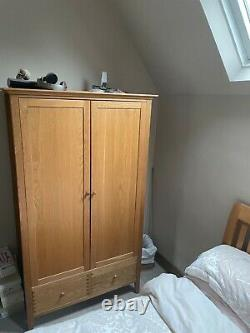 Contemporary Modern Double Oak Wardrobe on Legs with 2 Large Drawers Two Doors