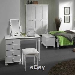 Copenhagen 3 Door 4 Drawer Large Wardrobe White Clothing Storage Hanging Rack