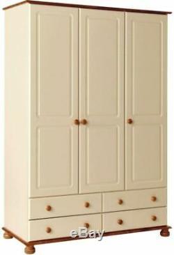 Copenhagen 3 Door Wardrobe Extra Large Cabinet Hang Clothes 4 Drawers Furniture