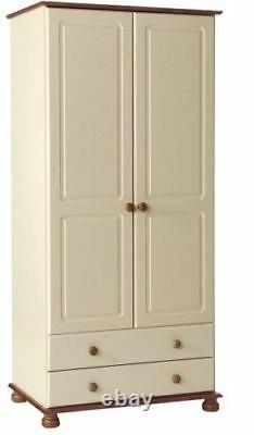 Copenhagen Cream And Pine Large Tall Bedroom Furniture 2 Door 2 Drawer Wardrobe