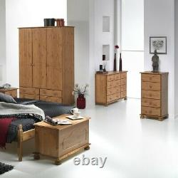 Copenhagen Wide 3 Door 4 Drawer Wardrobe Antique Style Pine Large Wardrobe