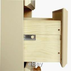 Copenhagen Wide 3 Door 4 Drawer Wardrobe Painted Cream & Pine Large Wardrobe