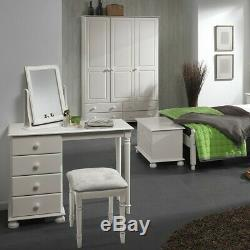 Copenhagen Wide 3 Door 4 Drawer Wardrobe White Large Wardrobe Bedroom Cupboard