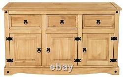 Corona 3 Door 3 Drawer Large Sideboard Mexican Pine