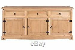Corona 3 Door 3 Drawer Large Sideboard Solid Medium Wood Mexican Pine