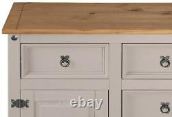 Corona Grey 2 Door 5 Drawer Large Sideboard Mexican Solid Pine