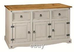 Corona Grey 3 Door 3 Drawer Large Sideboard Mexican Solid Pine