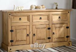 Corona Mexican Pine Large 3 Door 3 Drawer Wooden Sideboard