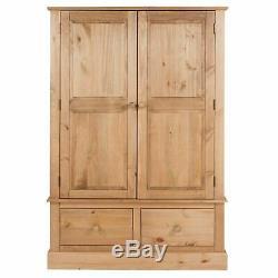 Cotswold Country Pine Bedroom Range Large 2 Door 2 Drawer Wide Wardrobe Cupboard