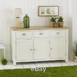 Cotswold Cream Painted 3 Door Large Sideboard with Oak Top 3 Drawers WT26