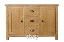 Country Oak Large Sideboard / Solid Wood 2 Door 3 Drawer Cupboard Cabinet Unit