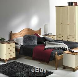 Cream & Pine 3 Door 4 Drawer Large triple Wardrobe