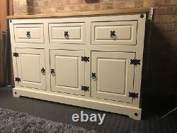 Cream painted large 3 door 3 Drawer sideboard 132cm