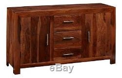 Cube Indian Sheesham Wood 3 Drawers and 2 Doors Large Sideboard in Rich Honey