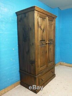 DOVETAILED CHUNKY LARGE SOLID WOOD 2DOOR 1DRAWER WARDROBE H195 W107cm- SEE SHOP