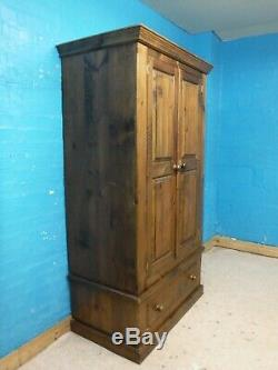 DOVETAILED CHUNKY LARGE SOLID WOOD 2DOOR 1DRAWER WARDROBE H195 x W107cm SEE SHOP