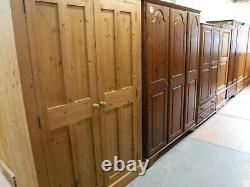DOVETAILED CHUNKY LARGE SOLID WOOD 2DOOR 3DRAWER WARDROBE H206 W96cm- SEE SHOP