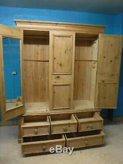 DOVETAILED LARGE CHUNKY SOLID WOOD 2DOOR 5DRAWER WARDROBE H214 W160cm -see shop