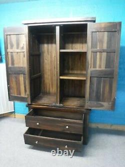 DOVETAILED LARGE SOLID OAK DOUBLE 2DOOR 2DRAWER WARDROBE H201 W110cm see shop