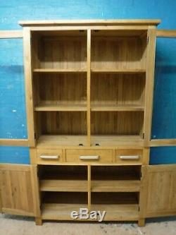DOVETAILED LARGE SOLID OAK WOOD 4DOOR 3DRAWER DISPLAY DRESSER BOOKCASE see shop
