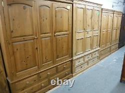 DOVETAILED LARGE SOLID WOOD 2DOOR 2DRAWER WARDROBE H205 W120 D60cm- SEE SHOP