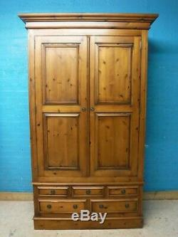 DOVETAILED LARGE SOLID WOOD 2DOOR 5DRAWER WARDROBE H211 W125cm- see our shop