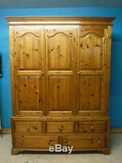 DOVETAILED LARGE SOLID WOOD 2DOOR 5DRAWER WARDROBE H213 W162 D65cm -see our shop
