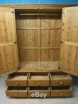 DOVETAILED LARGE SOLID WOOD 2DOOR 6DRAWER WARDROBE H208 W165 D60cm -see our shop