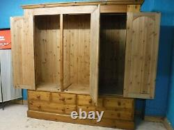 DOVETAILED LARGE SOLID WOOD 3DOOR 6DRAWER WARDROBE H209 W206 D56cm -see our shop