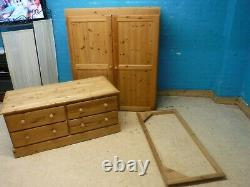 DOVETAILED LARGE / WIDE CHUNKY SOLID WOOD 2DOOR 4DRAWER WARDROBE- more listed