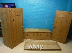 DOVETAILED WIDE LARGE SOLID WOOD 2DOOR 2DRAWER WARDROBE H200 W146cm- SEE SHOP