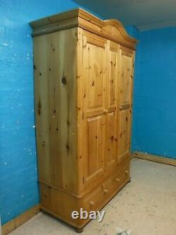 DOVETAILED WIDE LARGE SOLID WOOD 2DOOR 2DRAWER WARDROBE H220 W140cm- SEE SHOP
