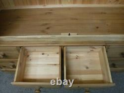DOVETAILED WIDE LARGE SOLID WOOD 2DOOR 6DRAWER WARDROBE H196 W153cm SEE SHOP