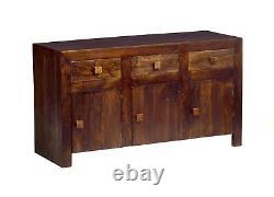 Dakota Dark Mango Wood 3 Drawer and 3 Door Large Sideboard for Dining Room