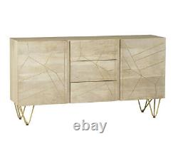 Dallas Light Mango Wood & Metal Legs Large Sideboard with 2 Doors and 3 Drawers