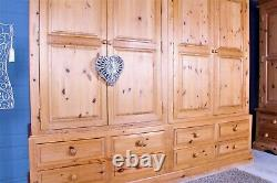 Delivery Options Large Quality Pine Farmhouse Wardrobe 4 Doors 8 Drawers Waxed