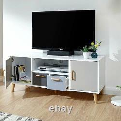 Delta 2 Door 2 Drawer Large TV Unit White & Grey