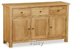 Dolcea Original Oak Large Sideboard / 3 Door 3 Drawer Wide Cupboard / Cabinet