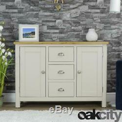 Dorset Grey Oak Sideboard Large 2 Door 3 Drawer Cabinet Stone Grey