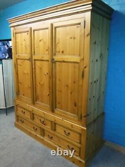 Dovetailed Large Chunky Solid Wood Triple 3door 5drawer Wardrobe See Our Shop