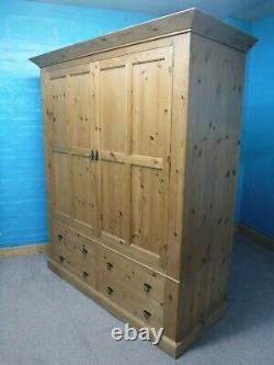 Dovetailed Large Rustic Chunky Solid Wood 2 Door 4 Drawer Wardrobe Visit Shop