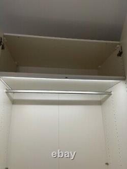 Dwell Large Wardrobe White Glass Doors, Full Mirror, 3 Drawers + Interior Lights