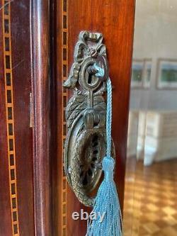 Edwardian Walnut & Mahogony Mirrored Wardrobe With Single Door & Large Drawer