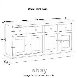 Extra Large Sideboard Cabinet Oak Solid Wood 4 Drawers 4 Door Chichester Country