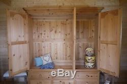 Farmhouse rustic solid wooden pine large triple 3 door wardrobe with drawers