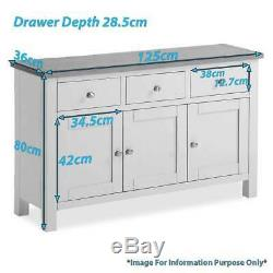 Farrow White Large Sideboard 3 Door 3 Drawer Painted SIdeboard