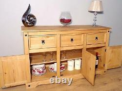Furniture Trade Corona 3 Door 3 Drawer Large Sideboard Light Fiesta Wax