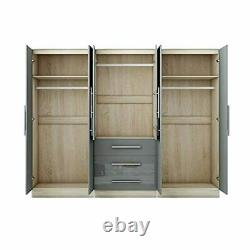 Gloss Grey Large Wardrobe 4 Door 3 Drawers & Long Mirror